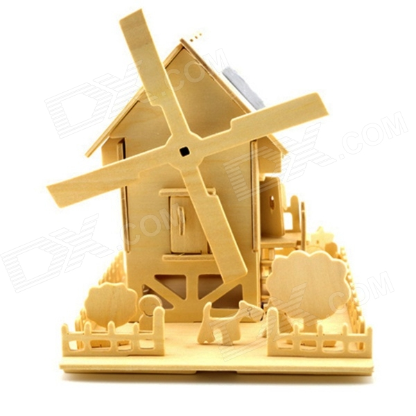 CH-ST052 Creative DIY Handmade Wooden Hut House Model with Windmill - Yellow
