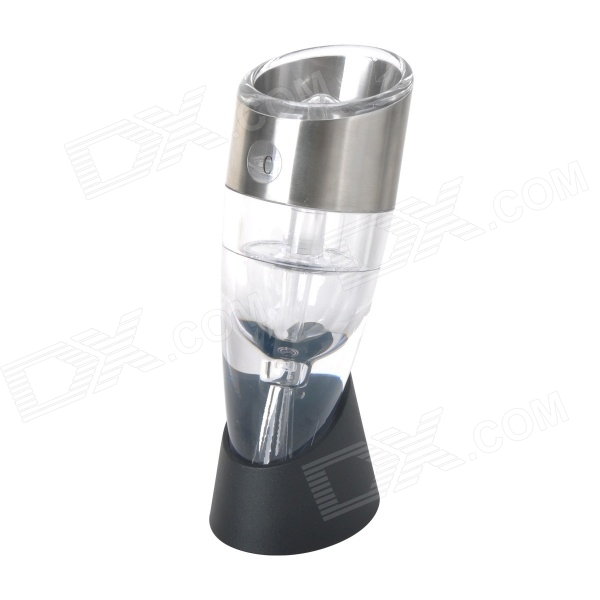 TJ-022A Twist Adjustable Wine Aerator / Decanter w/ Base - Transparent + Silver  detacheable decanter wine aerator black transparent