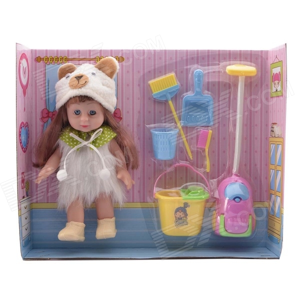 цены NEJE ST0006-2 8 inch Baby Doll Play House Gift Toy Set - Pink