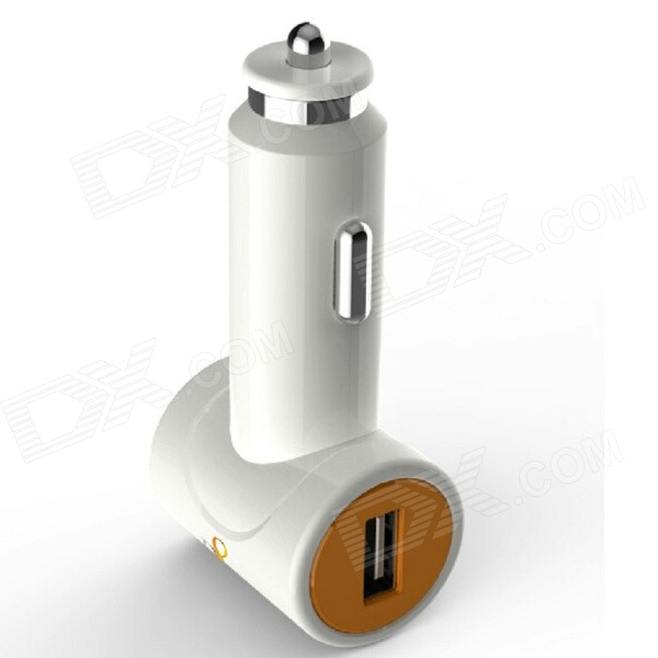 D8 Dual USB Car Charger Adapter for IPHONE / IPAD - White (12~24V)