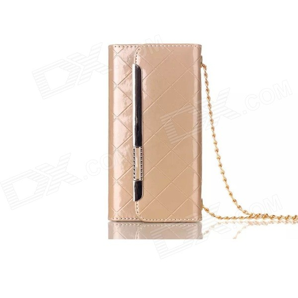 Metal Chain Handbag sTYLE PU + TPU Full Body Case w/ Card Slot for IPHONE 6 4.7 - Gold metal chain handbag style pu tpu full body case w card slot for iphone 6 4 7 gold