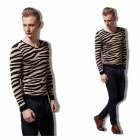 QL-25 Men's Fashionable Long-sleeved Leopard Cotton + Spandex Sweater - Yellow + Black (Size L)