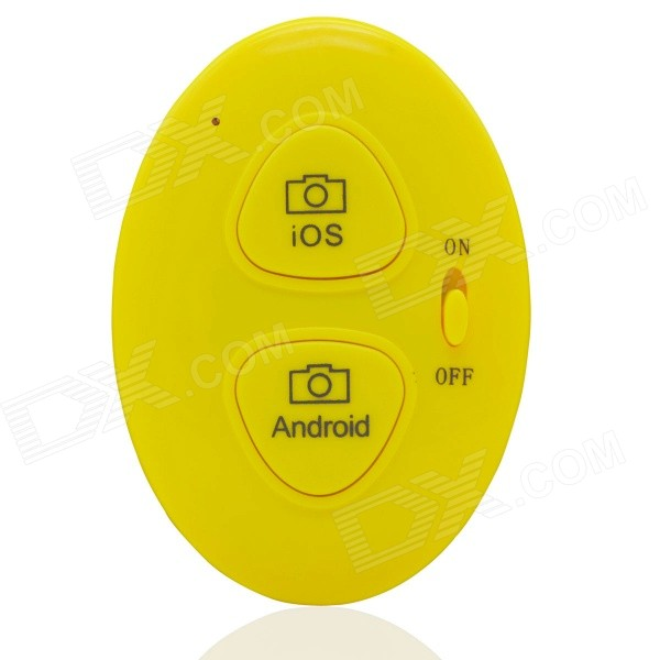 Trådløs Bluetooth V3.0 Selfie Camera Remote Shutter for IOS / Android System - Gul (1 x CR2032)
