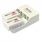 Soshine SC-V1(2) EU Plug Li-ion / Ni-MH Battery Charger w/ 2 x 9V Ni-MH 350mAh Battery - White