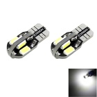 HONSCO T10 2W 8-SMD 5730 LED 100lm Cool White Light Dome Side License Bulb (2 PCS / DC 12V)