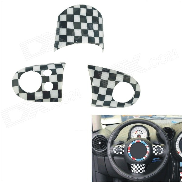 Carking DIY ABS Steering Wheel Covers for BMW Mini Cooper - Black + White 10x car wheel snow chains for mini cooper r56 r50 r53 f56 f55 r60 r57 for alfa romeo 159 147 156 166 gt mito accessories