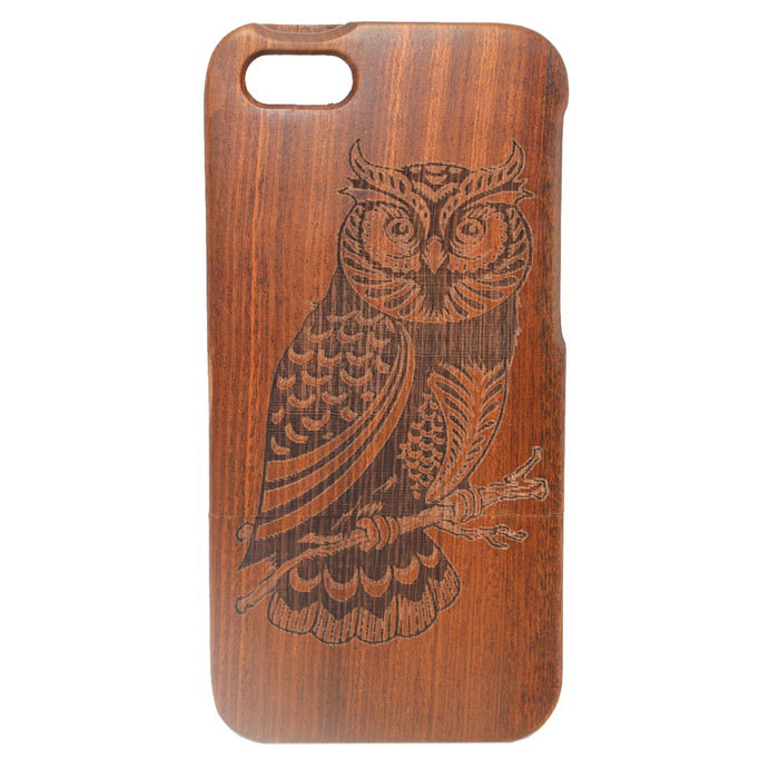 Owl Pattern Detachable Protective Wood Back Case for IPHONE 5 / 5S - Brown