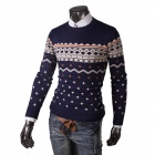 REVERIE UOMO WY50 Winter Men's Casual Cotton Blended Slim Pullover Sweater- Deep Blue + Beige (XL)