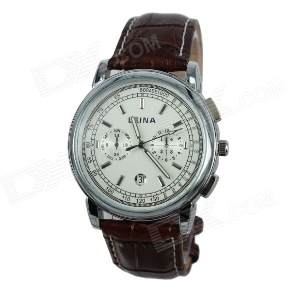 LEINA 1443 Men's Business Style PU Band Quartz Wrist Watch w/ Calendar - Silver + Brown (1 x 377)