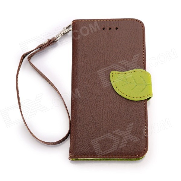 Leaf Closure Protective PU Leather + Plastic Case for IPHONE 6 4.7 - Brown holes pattern protective tpu back case for iphone 6 4 7 yellow