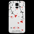 Flower Rattan Pattern Protective PC Battery Back Case for Samsung Galaxy S5 - White + Red