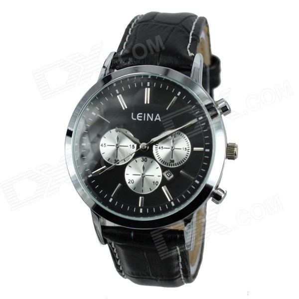 Men's Business Style Stylish PU Leather Band Quartz Analog Wrist Watch - Black + Silver (1 x 377)