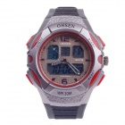 OHSEN AD1301 Men's Sports Rubber Band Analog + Digital Quartz Wrist Watch - Black + Red (1 x CR2025)