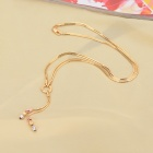 KCCHSTAR Women's Fashionable Copper + 24K Gold Plated Pendant Necklace - Golden