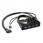 2-Port USB 3.0 Socket+ 2-Port USB 2.0 Socket Soft Drive Front Panel for Chassis - Black