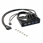 USB 3.0 Socket + USB2.0 Soft Drive Front Panel for Chassis - Black