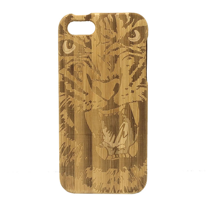 Lion Pattern Detachable Protective Bamboo Back Case for IPHONE 5 / 5S - Wood Color
