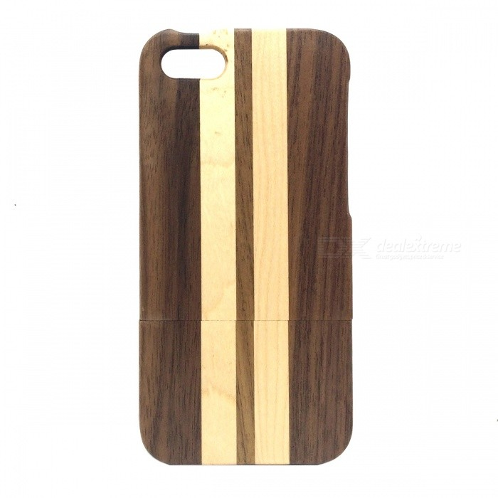 Detachable Protective Wood Back Case for IPHONE 5 / 5S - Deep Brown + Yellow