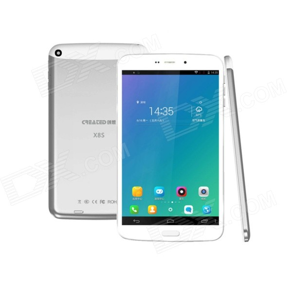 CREATED X8S 8 IPS Octa Core Android 4.4 Tablet PC w/ 1GB RAM, 16GB ROM, Dual SIM, Wi-Fi - Silver q79 7 9 ips dual core android 4 1 tablet pc w 16gb rom 1gb ram 3g 2g phone bluetooth