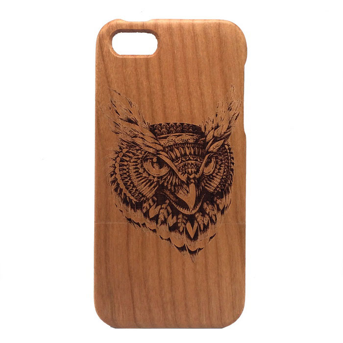 Owl Pattern Detachable Protective Wood Back Case for IPHONE 5 / 5S - Wood Color protective heart shape rhinestone decoration back case for iphone 5 brown