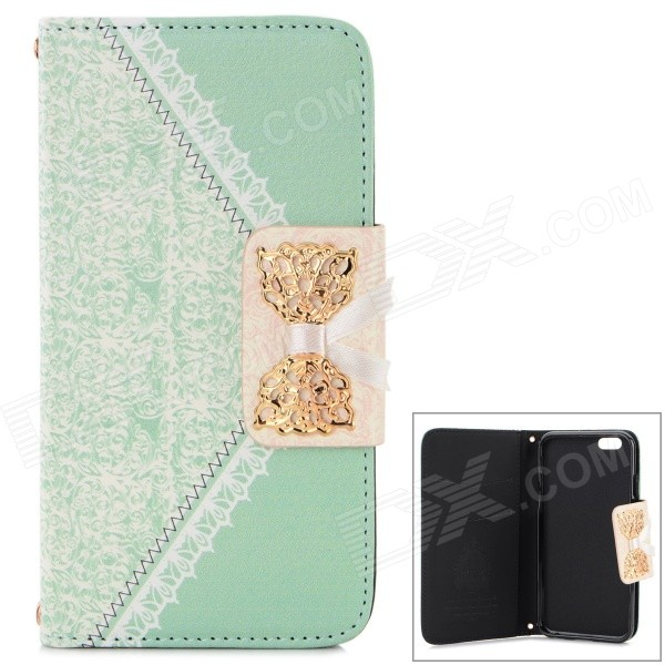 "Stylish PU + Plastic Flip Open Case w/ Card Slots for  IPHONE 6 4.7""- Light Green + White"