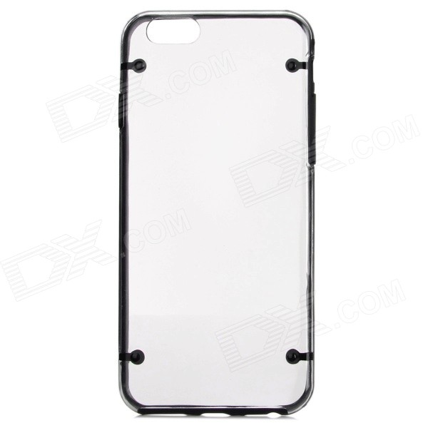 Protective PC Back Case for IPHONE 6 4.7 - Transparent + Black man scoot at the basket pattern protective pc back case for iphone 6 plus transparent black