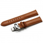 CHIMAERA Replacement 18mm / 16mm Leather Watch Band Strap w/ Deployant Clasp - Brown