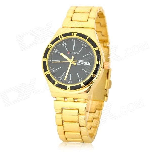 CURREN SS8124B Men's Stylish Stainless Steel Quartz Analog Wristwatch w/ Calendar - Gold (1 x 377) fashion stainless steel men s quartz analog wrist watch w calendar silver black 1 x 377