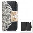 "Bowknot Pattern Stylish PU + Plastic Flip Open Case w/ Card Slots for IPHONE 6 4.7"" - Black"