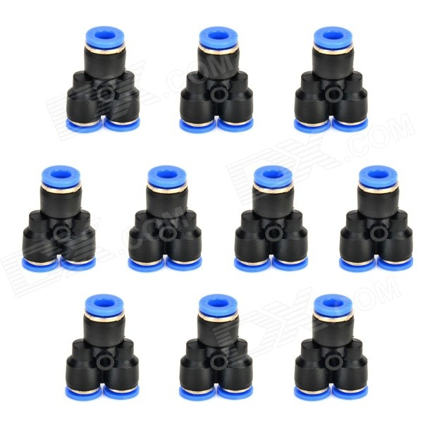ZnDiy-BRY Y-4 4mm Y-Shaped Air Pneumatic Quick Fitting Push-in Connectors - Blue + Black (10 PCS) 6mm hole 1 8 pt male thread straight push in tube pneumatic quick fitting 5 pcs