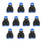 ZnDiy-BRY Y-4 4mm Y-Shaped Air Pneumatic Quick Fitting Push-in Connectors - Blue + Black (10 PCS)