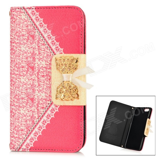 Bowknot Pattern Stylish PU + Plastic Flip Open Case w/ Card Slots for IPHONE 6 4.7 - Deep Pink angibabe snake skin pattern flip open pu leather case with card slots for iphone 6 4 7 pink
