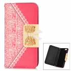 "Bowknot Pattern Stylish PU + Plastic Flip Open Case w/ Card Slots for IPHONE 6 4.7"" - Deep Pink"