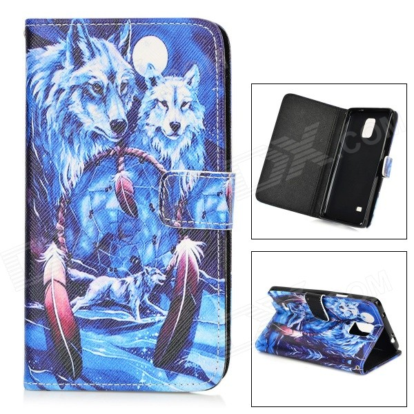 Snowwolf Pattern Protective TPU + PU Leather Case for Samsung Galaxy Note 4 - Blue + White finesource g7 android 4 4 quad core wcdma bar phone w 5 5 4gb rom wi fi gps ota black