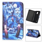 Snowwolf Pattern Protective TPU + PU Leather Case for Samsung Galaxy Note 4 - Blue + White