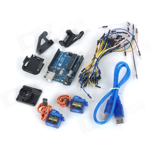 купить UNO R3 Board + 9g Servo + Holder + Breadboard Cables Kit for Arduino - Deep Blue + Multicolored недорого