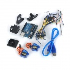 UNO R3 Board + 9g Servo + Holder + Breadboard Cables Kit for Arduino - Deep Blue + Multicolored