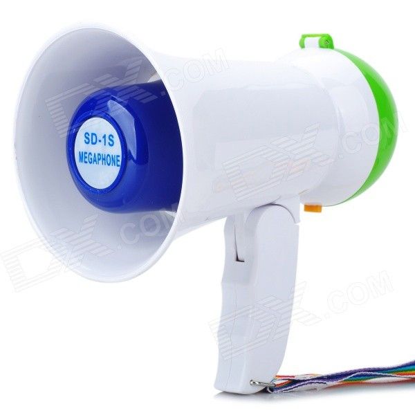 Фото Handheld Bull Horn Loud Speaker - Green + White new safurance 200w 12v loud speaker car horn siren warning alarm stainless steel home security safety