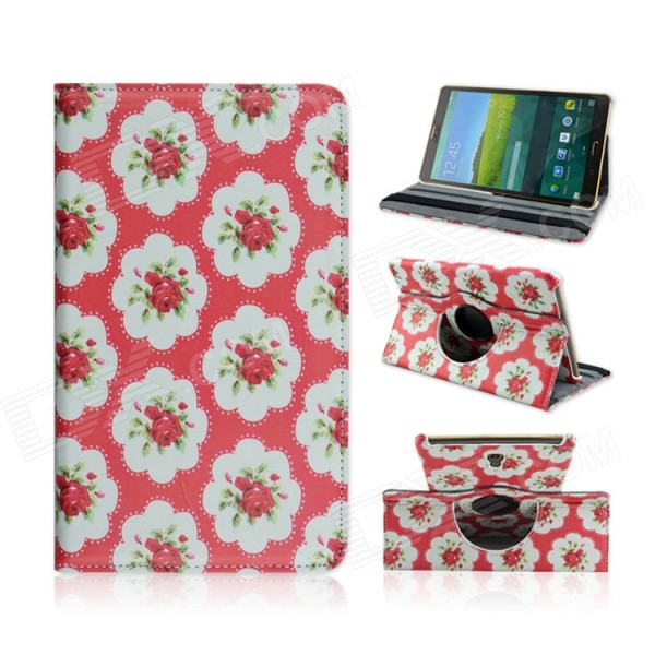 Sweet Floral Pattern PU Leather Case for Samsung Galaxy Tab S 8.4 T700 - Red + White чехол для samsung galaxy tab s 8 4 t700 t705 samsung white