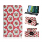 Sweet Floral Pattern PU Leather Case for Samsung Galaxy Tab S 8.4 T700 - Red + White