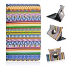 Tribal Lines 360 Degree Rotation PU Leather Case Stand for Samsung Galaxy Tab S 8.4 T700 - Deep Blue