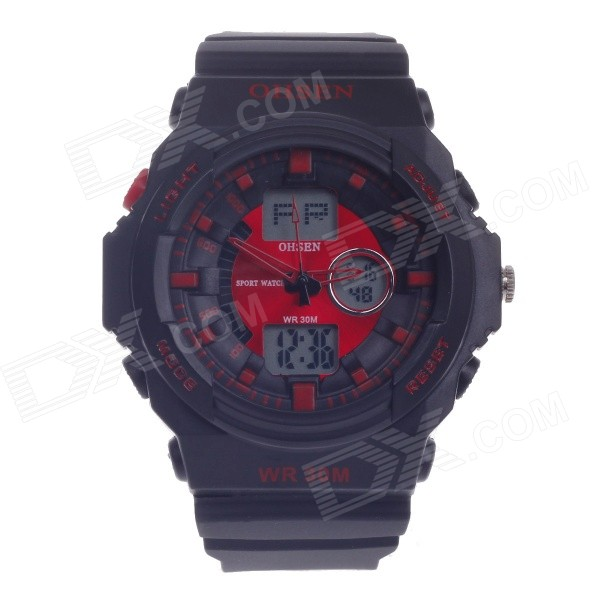 OHSEN AD1216 Men's Sports Rubber Band Analog + Digital Quartz Wrist Watch - Black + Red (1 x CR2025)