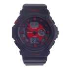 OHSEN AD1216 Herren Sport Rubber Band Analog + Digital Quarz-Armbanduhr - Schwarz + Rot (1 x CR2025)