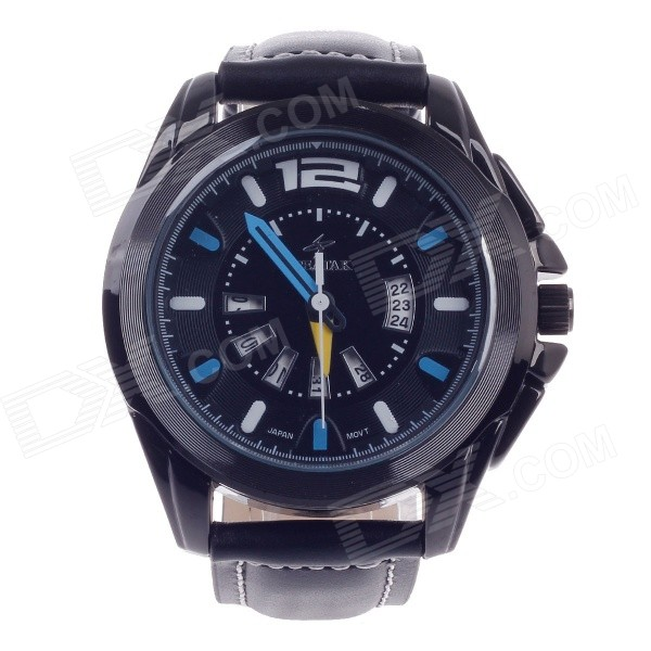 SPEATAK SP9021G Men's Head Layer Leather Band Quartz Wrist Watch w/ Date Display - Black + Blue