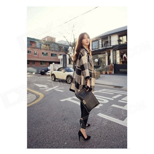 LJ-01 Women's Plaid Pattern Fashionable Classic Long Coat - Black + Grey