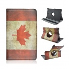 Canada Pattern PU Leather Flip Open Case for Samsung Galaxy Tab S 8.4 T700 - Yellow + Red