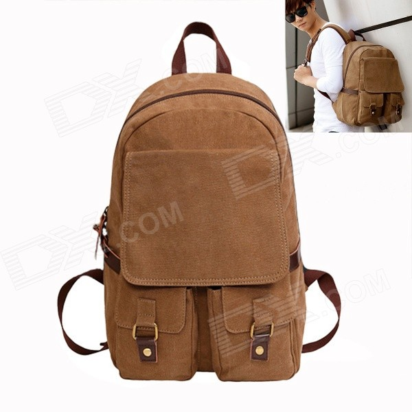 ZIQIAO 306 Stylish Casual Zippered Canvas Backpack for Laptop Computer - Khaki
