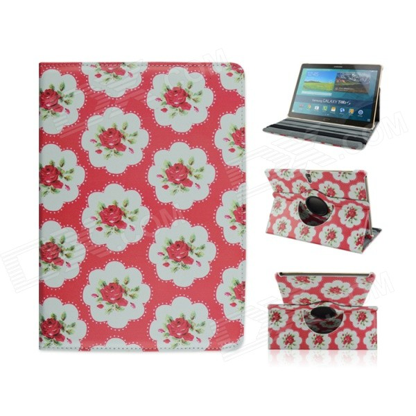 Flower Pattern Protective PU Case w/ Stand for Samsung Galaxy Tab S 10.5 T800 - Red + Multicolored uk flag pattern 360 rotary protective pu case w stand for samsung galaxy tab s 10 5 t800
