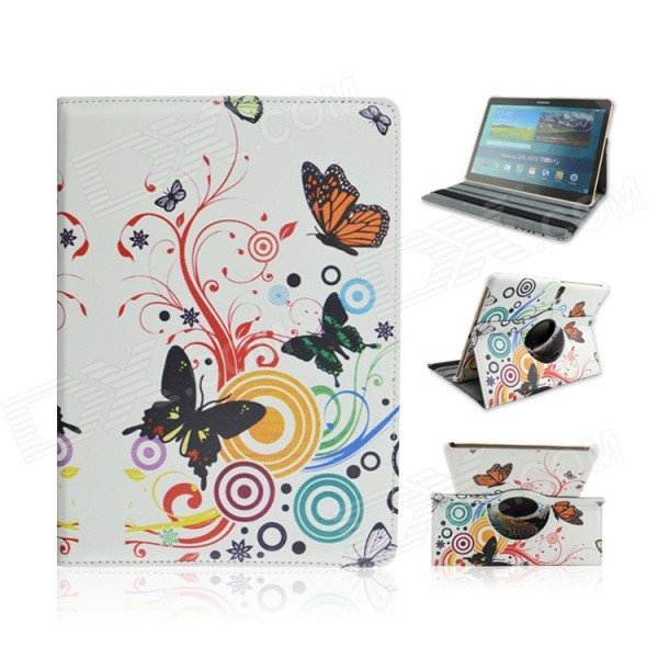 Butterfly Pattern PU Case w/ Stand for Samsung Galaxy Tab S 10.5 T800 - White + Multicolored enkay butterfly pattern protective case w stand for samsung galaxy tab 3 lite t110 multicolor