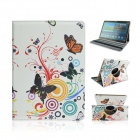 Butterfly Pattern PU Case w/ Stand for Samsung Galaxy Tab S 10.5 T800 - White + Multicolored